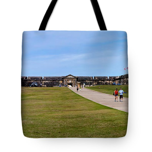 Panorama Of El  Morro Castillo Tote Bag by Thomas Marchessault