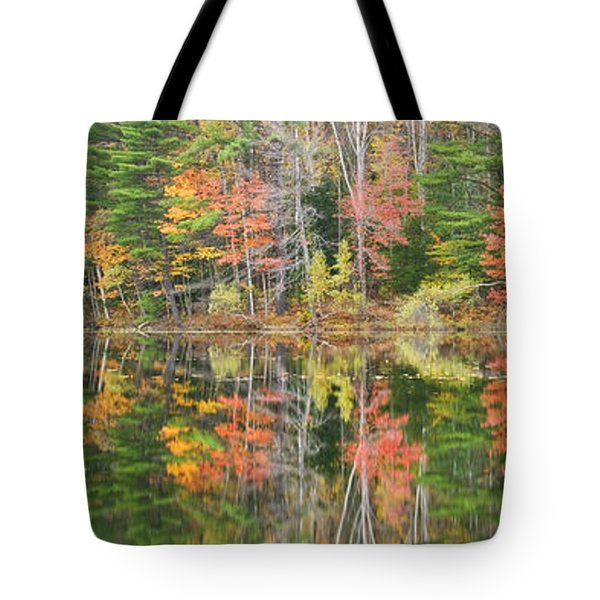 Panorama Of Fall Color On Torsey Pond Readfield Maine Tote Bag