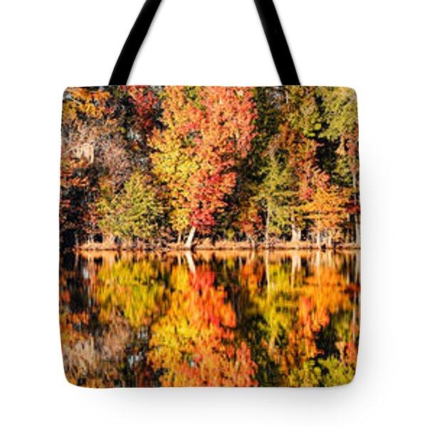 Panorama Of Fall Colors At Martin Dies Junior State Park - Jasper Piney Woods East Texas Tote Bag