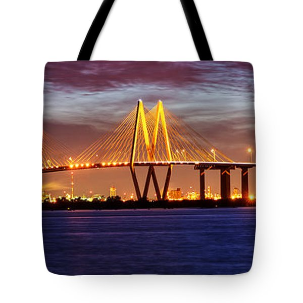 Panorama Of Fred Hartman Bridge Tote Bag