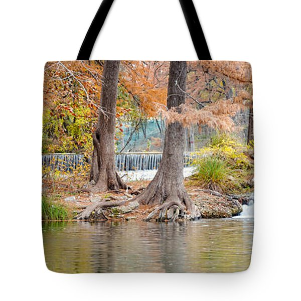 Panorama Of Guadalupe River In Hunt Texas Hill Country Tote Bag