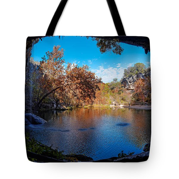 Panorama Of Hamilton Pool In The Fall - Austin Texas Hill Country Tote Bag
