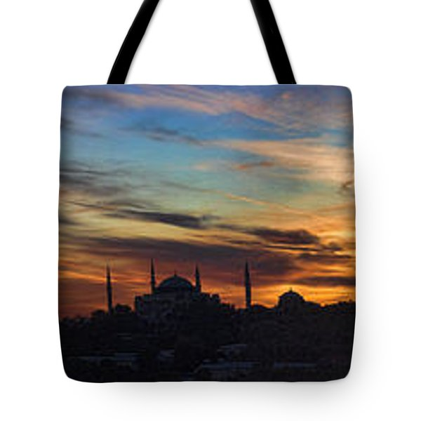 Panorama Of Istanbul Sunset- Call To Prayer Tote Bag by David Smith