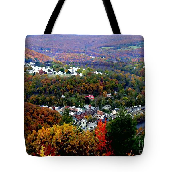 Panorama Of Jim Thorpe Pa Switzerland Of America - Abstracted Foliage Tote Bag by Jacqueline M Lewis