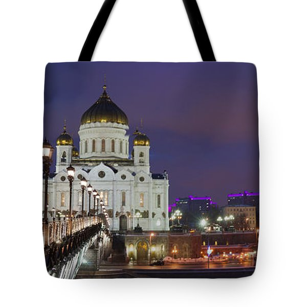 Panorama Of Moscow Cathedral Of The Christ The Savior - Featured 3 Tote Bag by Alexander Senin