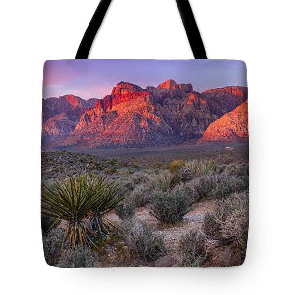 Panorama Of Rainbow Wilderness Red Rock Canyon - Las Vegas Nevada Tote Bag