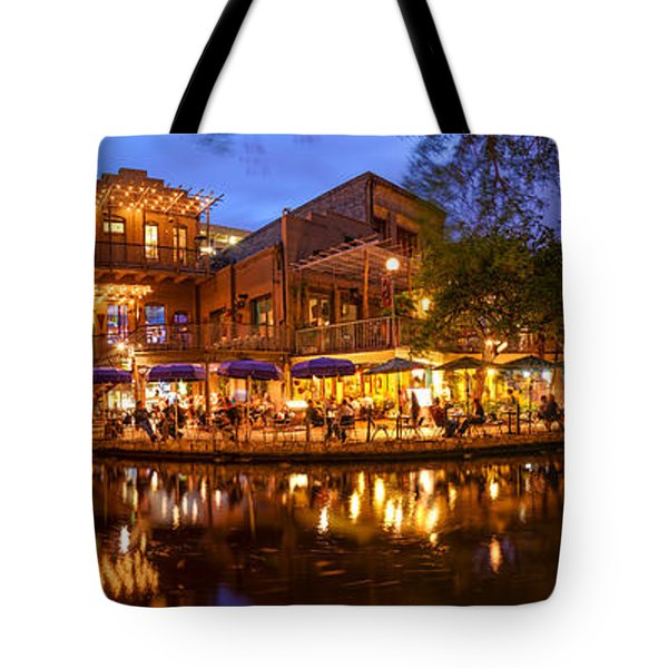 Panorama Of San Antonio Riverwalk At Dusk - Texas Tote Bag