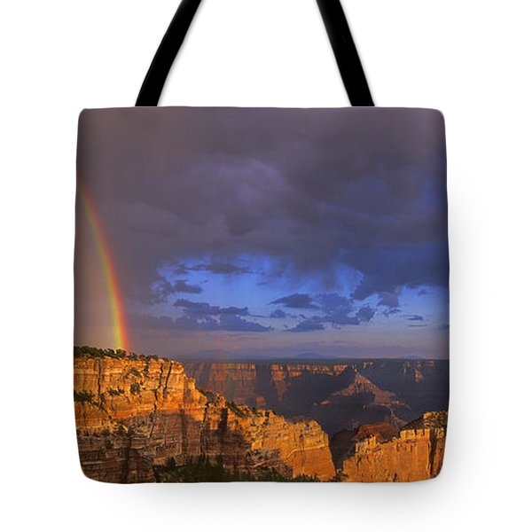 Tote Bag featuring the photograph Panorama Rainbow Over Cape Royal North Rim Grand Canyon National Park by Dave Welling
