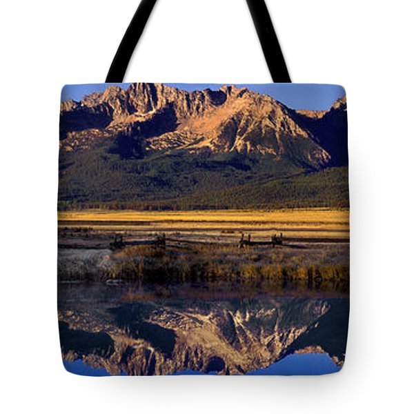 Panorama Reflections Sawtooth Mountains Nra Idaho Tote Bag by Dave Welling