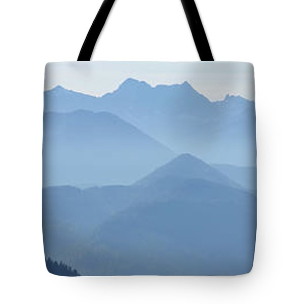 Tote Bag featuring the photograph Panorama View Of The Bavarian Alps by Rudi Prott