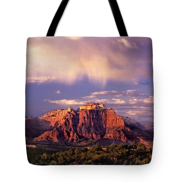 Panorama West Temple At Sunset Zion Natonal Park Tote Bag by Dave Welling