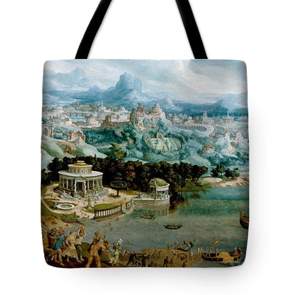 Panorama With The Abduction Of Helen Amidst The Wonders Of The Ancient World Tote Bag