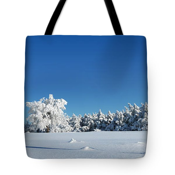 Panorama With Trees Covered With Snow In A Sunny Winter Day Tote Bag