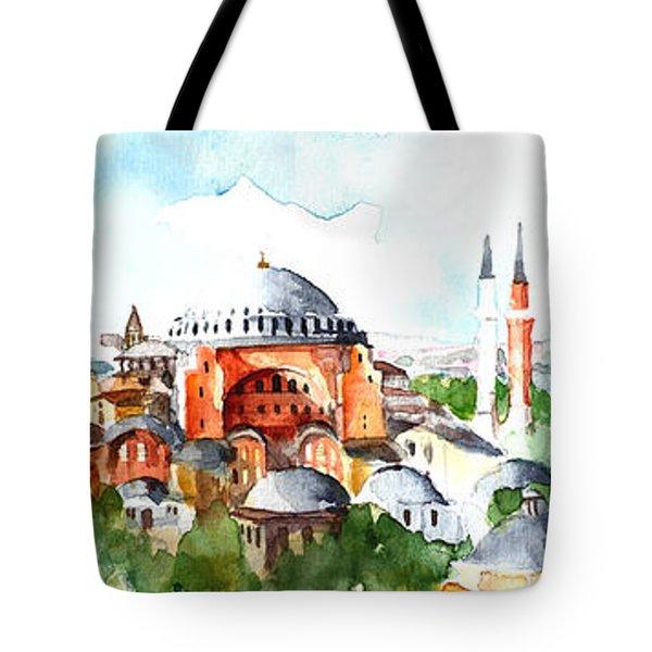 Panoramic Hagia Sophia In Istanbul Tote Bag by Faruk Koksal