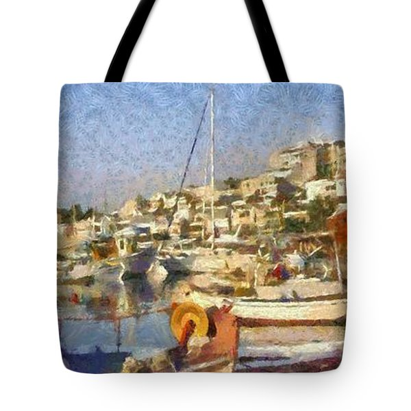 Panoramic Painting Of Mikrolimano Port Tote Bag