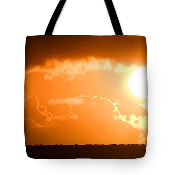 Tote Bag featuring the photograph Panoramic Photo Of Sunset At Monkey Mia  by Yew Kwang