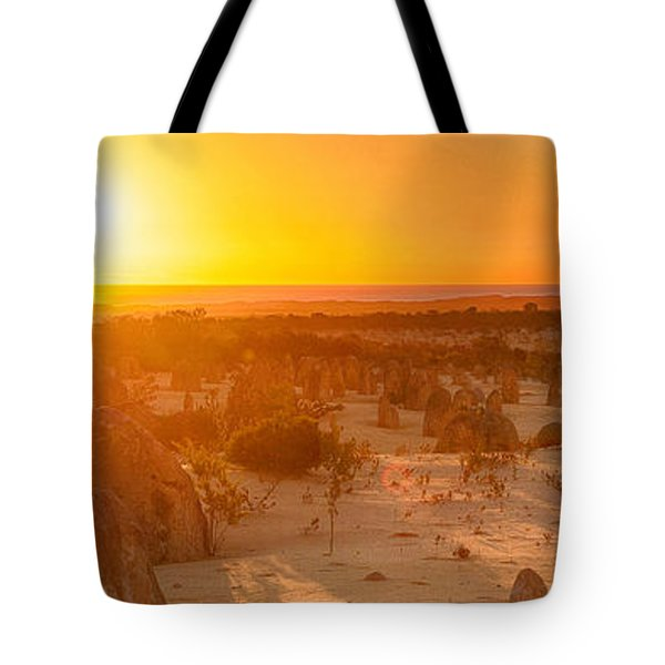 Panoramic Photo Of Sunset At The Pinnacles Tote Bag