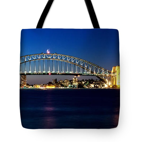 Tote Bag featuring the photograph Panoramic Photo Of Sydney Night Scenery by Yew Kwang