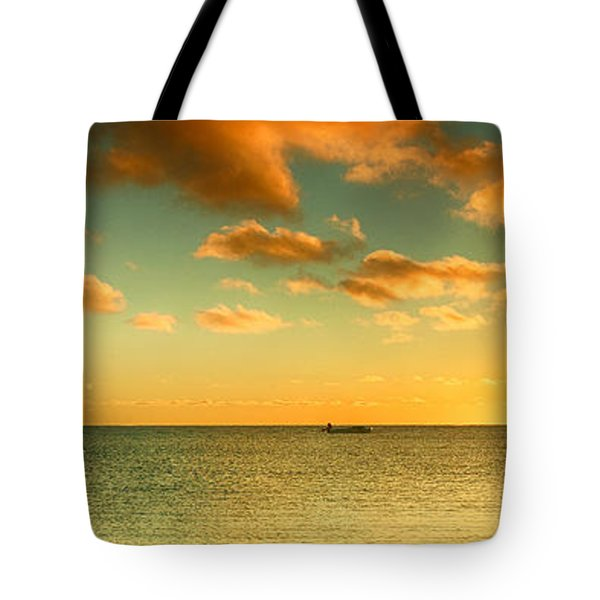 Tote Bag featuring the photograph Panoramic Photo Sunrise At Monky Mia by Yew Kwang