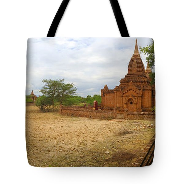 Tote Bag featuring the photograph Panoramic View Next To Dhammayazika Pagoda Built In 1196 By King Narapatisithu by Ralph A  Ledergerber-Photography