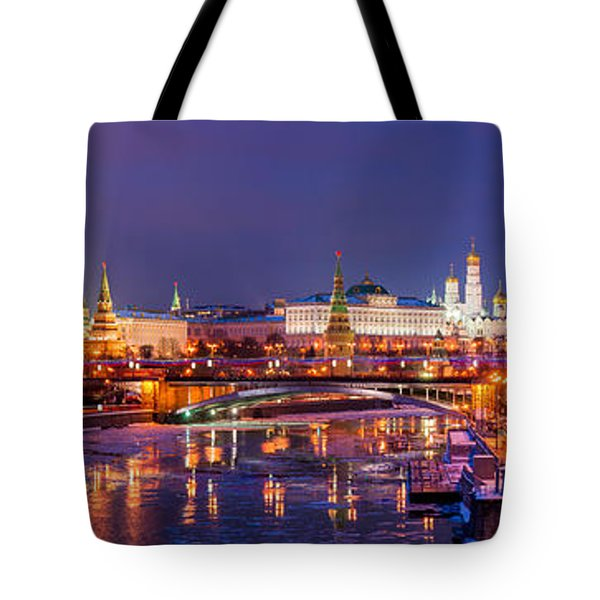 Panoramic View Of Moscow River And Moscow Kremlin  - Featured 3 Tote Bag