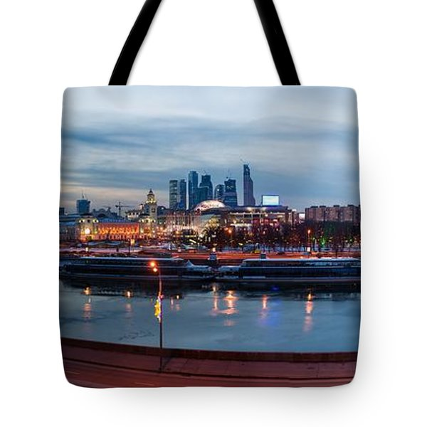 Panoramic View Of Moscow River - Kiev Railway Station And Square Of Europe - Featured 3 Tote Bag by Alexander Senin