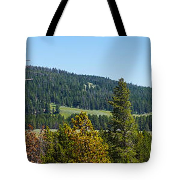 Panoramic Yellowstone Landscape Tote Bag