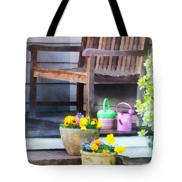 Pansies And Watering Cans On Steps Tote Bag by Susan Savad