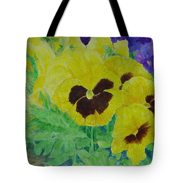 Pansies Colorful Flowers Floral Garden Art Painting Bright Yellow Pansy Original  Tote Bag