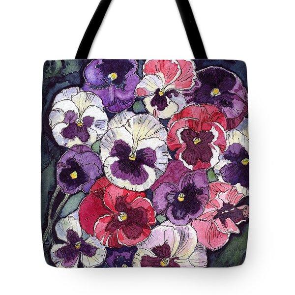Pansies Tote Bag by Katherine Miller