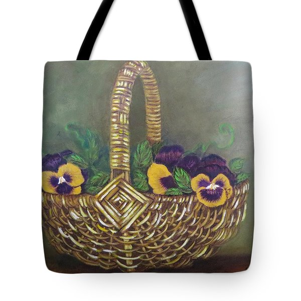 Pansy Basket Sherry Nelson Study Tote Bag by Sharon Schultz