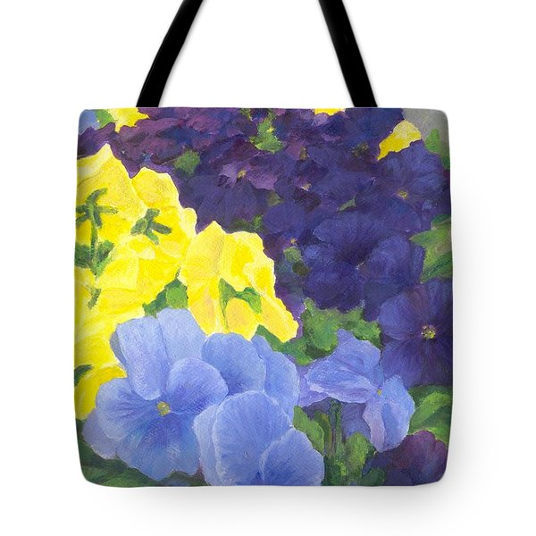 Pansy Garden Bright Colorful Flowers Painting Pansies Floral Art Artist K. Joann Russell Tote Bag