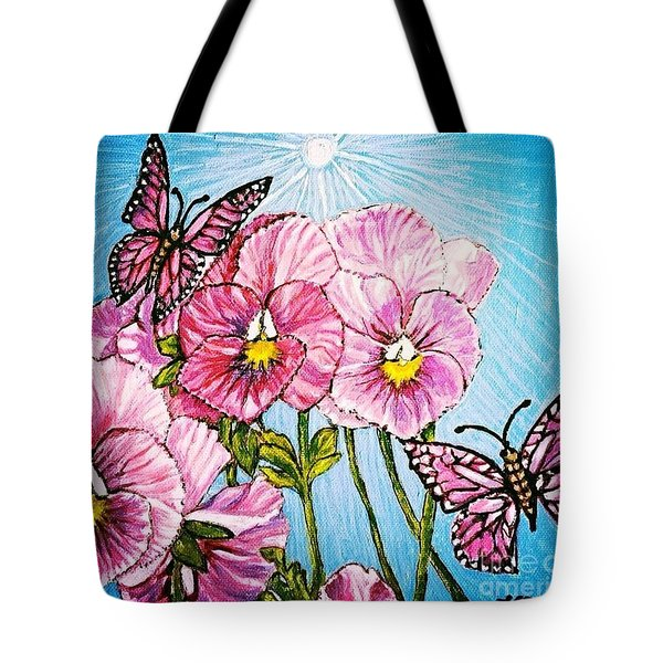 Tote Bag featuring the painting Pansy Pinwheels And The Magical Butterflies With Blue Skies by Kimberlee Baxter