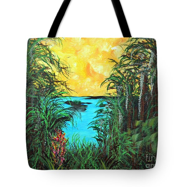 Tote Bag featuring the painting Panther Island In The Bayou by Alys Caviness-Gober