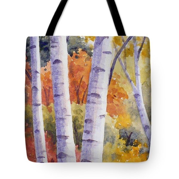 Paper Birches In Autumn Tote Bag