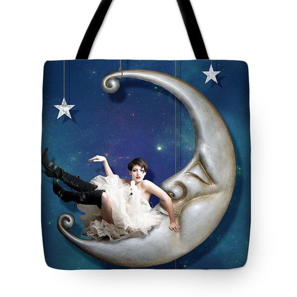 Paper Moon Tote Bag by Linda Lees
