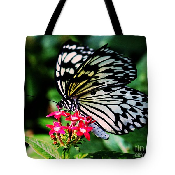 Paper White Butterfly Tote Bag