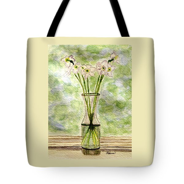 Paper Whites In Sunlight Tote Bag by Angela Davies