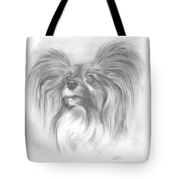 Tote Bag featuring the drawing Papillon by Paul Davenport