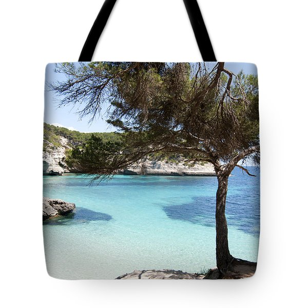 Paradise In Minorca Is Called Cala Mitjana Beach Where Sand Is Almost White And Sea Is A Deep Blue  Tote Bag