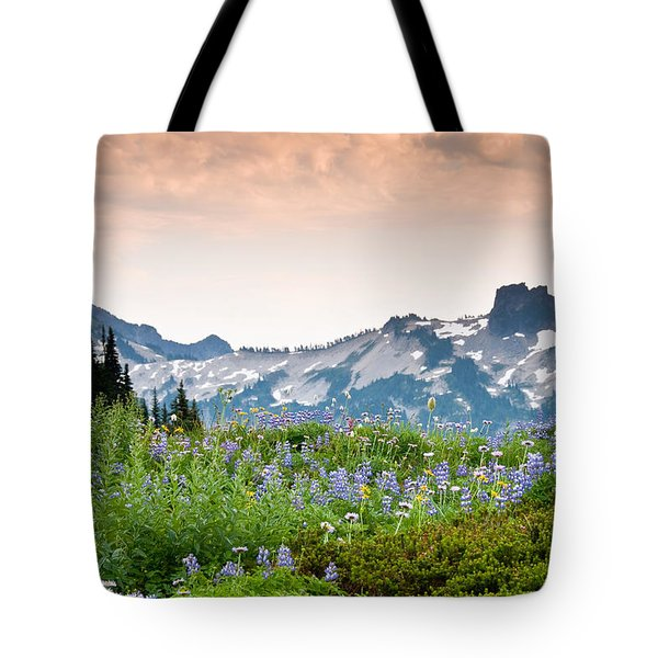 Paradise Meadows And The Tatoosh Range Tote Bag