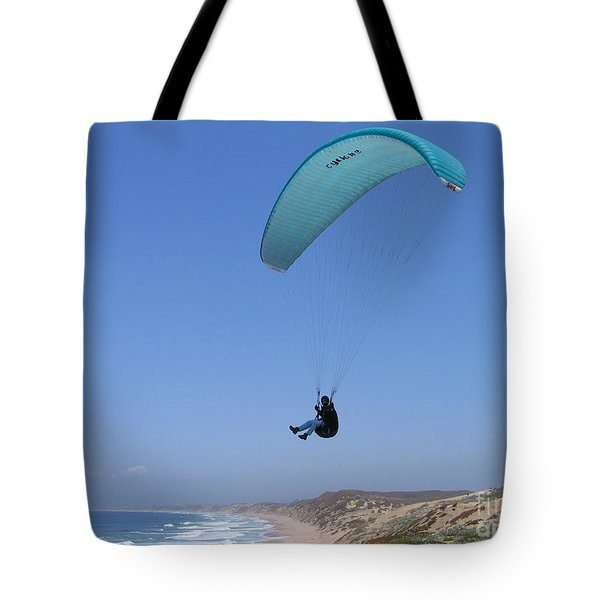 Tote Bag featuring the photograph Paraglider Over Sand City by James B Toy