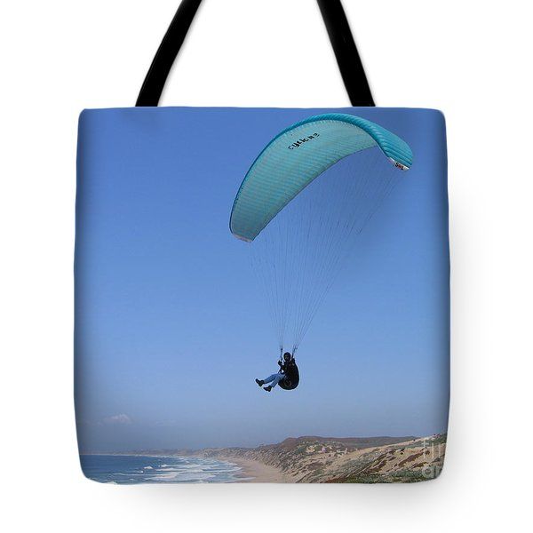 Paraglider Over Sand City Tote Bag