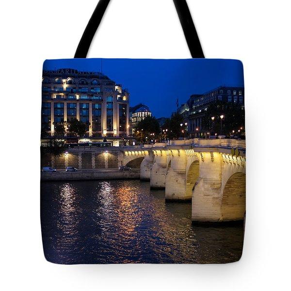 Paris Blue Hour - Pont Neuf Bridge And La Samaritaine Tote Bag by Georgia Mizuleva