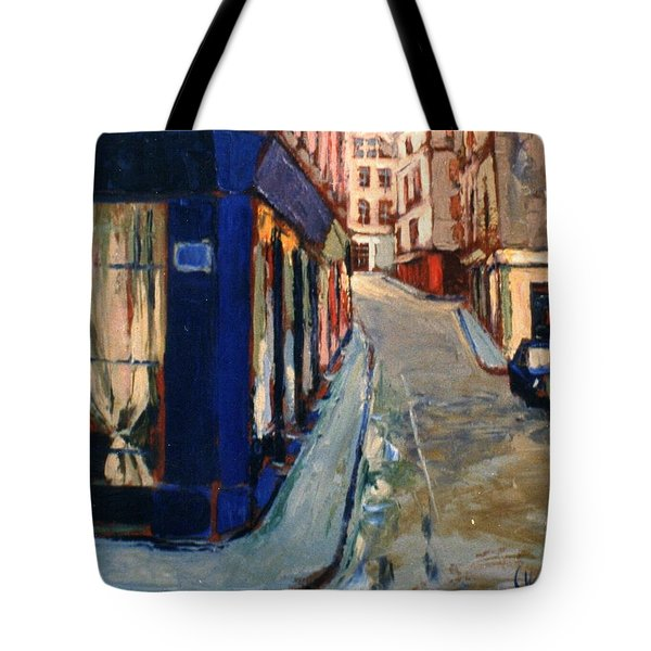 Tote Bag featuring the painting Paris Cityscape by Walter Casaravilla