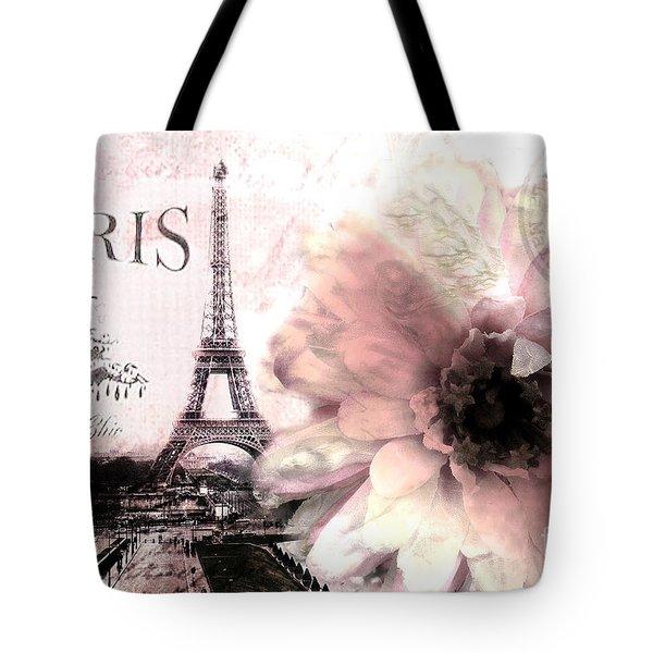 Paris Eiffel Tower Montage - Paris Romantic Pink Sepia Eiffel Tower Flower French Cottage Decor  Tote Bag