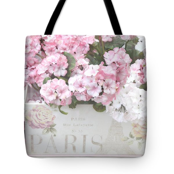 Paris Dreamy Romantic Cottage Chic Shabby Chic Paris Flower Box Tote Bag by Kathy Fornal