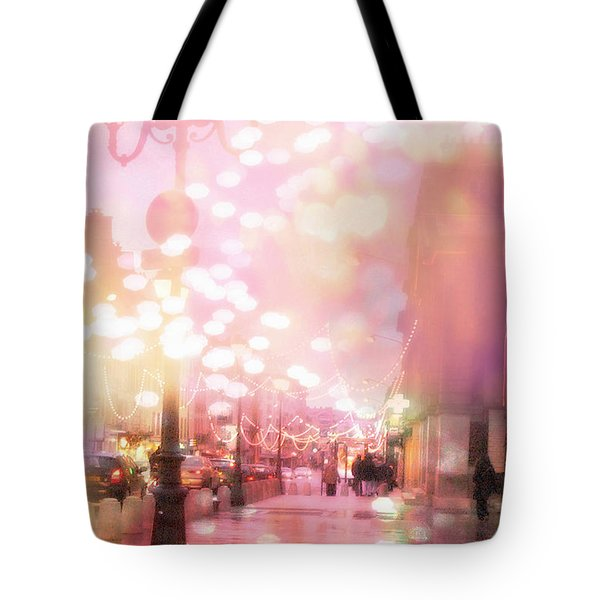 Paris Dreamy Holiday Street Lanterns Lamps - Paris Christmas Holiday Street Lanterns Lights Bokeh Tote Bag