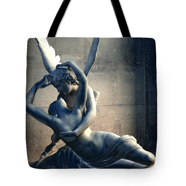 Paris Eros And Psyche Romantic Lovers - Paris In Love Eros And Psyche Louvre Sculpture  Tote Bag by Kathy Fornal