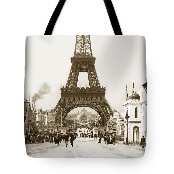 Tote Bag featuring the photograph Paris Exposition Eiffel Tower Paris France 1900  Historical Photos by California Views Mr Pat Hathaway Archives